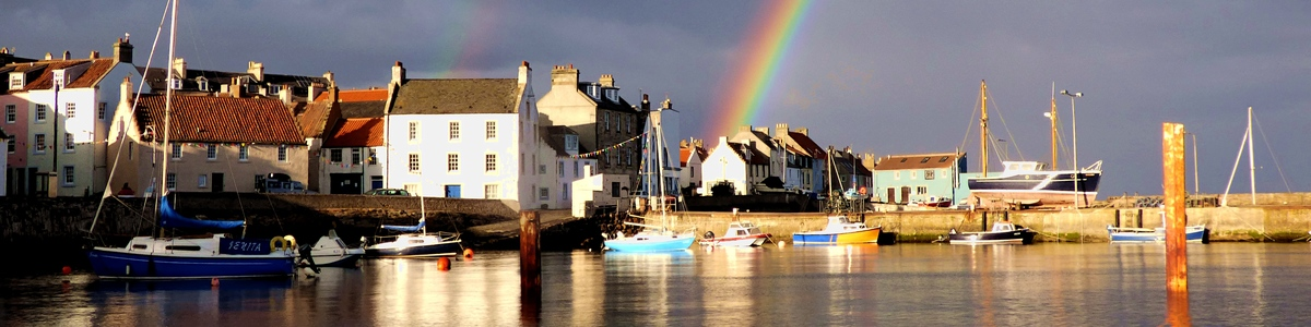 A new set of images now available as cards and prints – rainbows over the sea and harbour of St Monans …